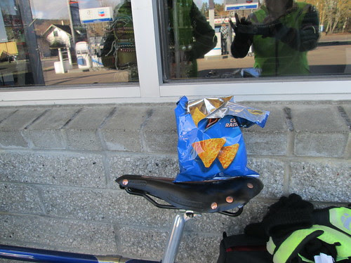 Promptly breaking in the new bike rando-style, with Cool Ranch Doritos