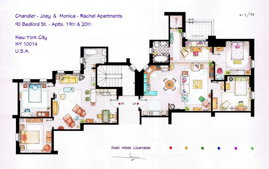 Friends Chandler and Joeys and Monica and Rachels Apartment Floor Plans