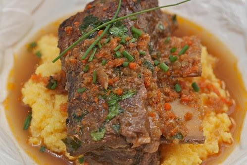 Beef Short Ribs over Polenta