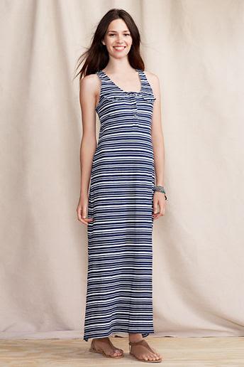 Women's French Terry Maxi Dress  - Aged Navy Stripe, S