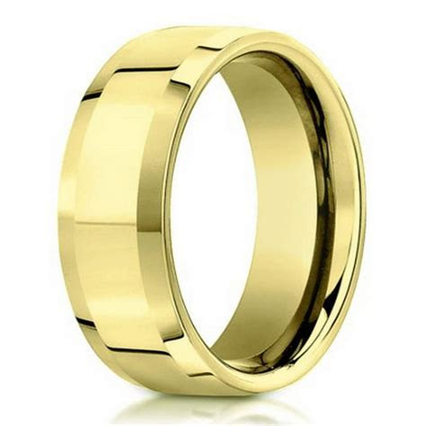 Designer Men's Wedding Band in 14K Yellow Gold, Beveled
