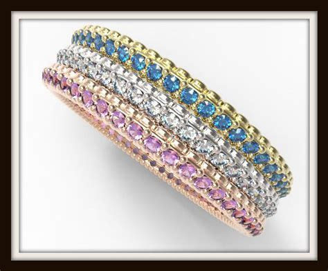 Three Tone Gold Multi Color Gem And Diamond Pave