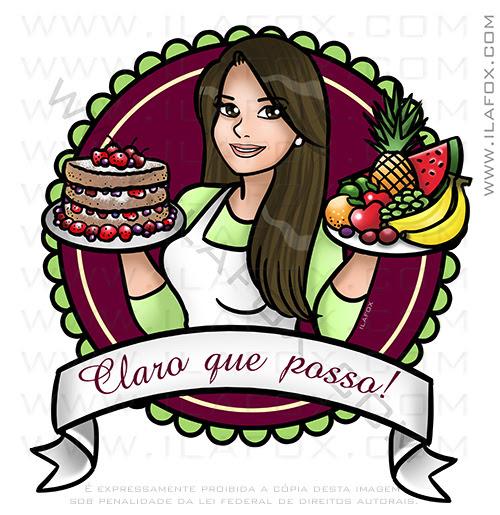 retrato desenho, retrato divertido, retrato para blog, retrato personalizado, retrato bolo e frutas, by ila fox