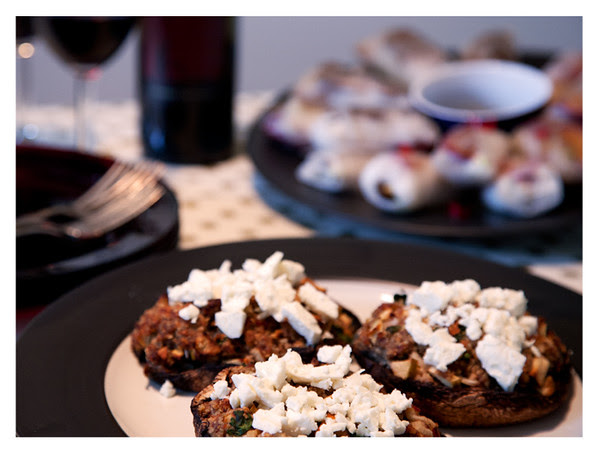 Portobello Mushrooms Stuffed with Lamb and Apple and Topped with Feta