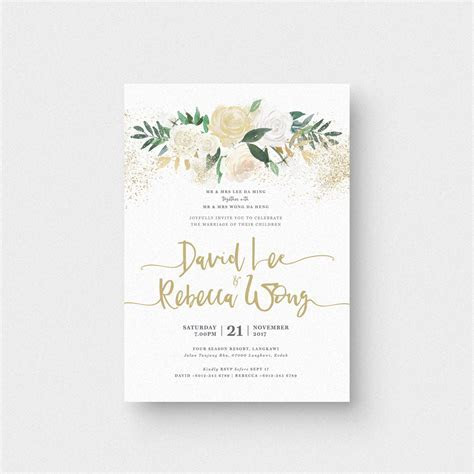 Audrea Floral I Invitation Card   The Paperpapers