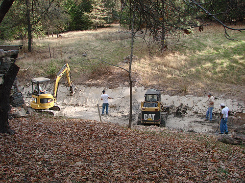 reshaping the upper pond