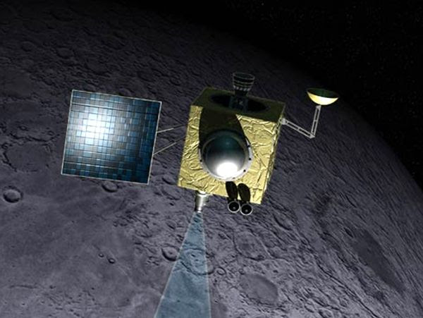 An artist's concept of India's Chandrayaan-1 spacecraft surveying the Moon's surface.