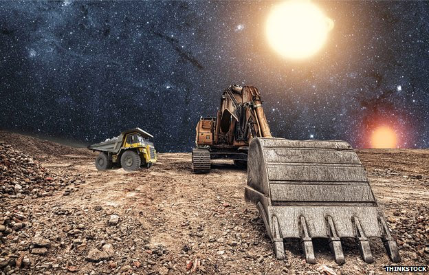 A compilation image of mining equipment in space