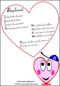 poème pour la fête des mères fete des meres