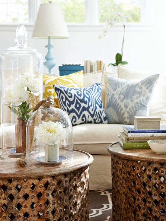 Love the styling on the coffee tables