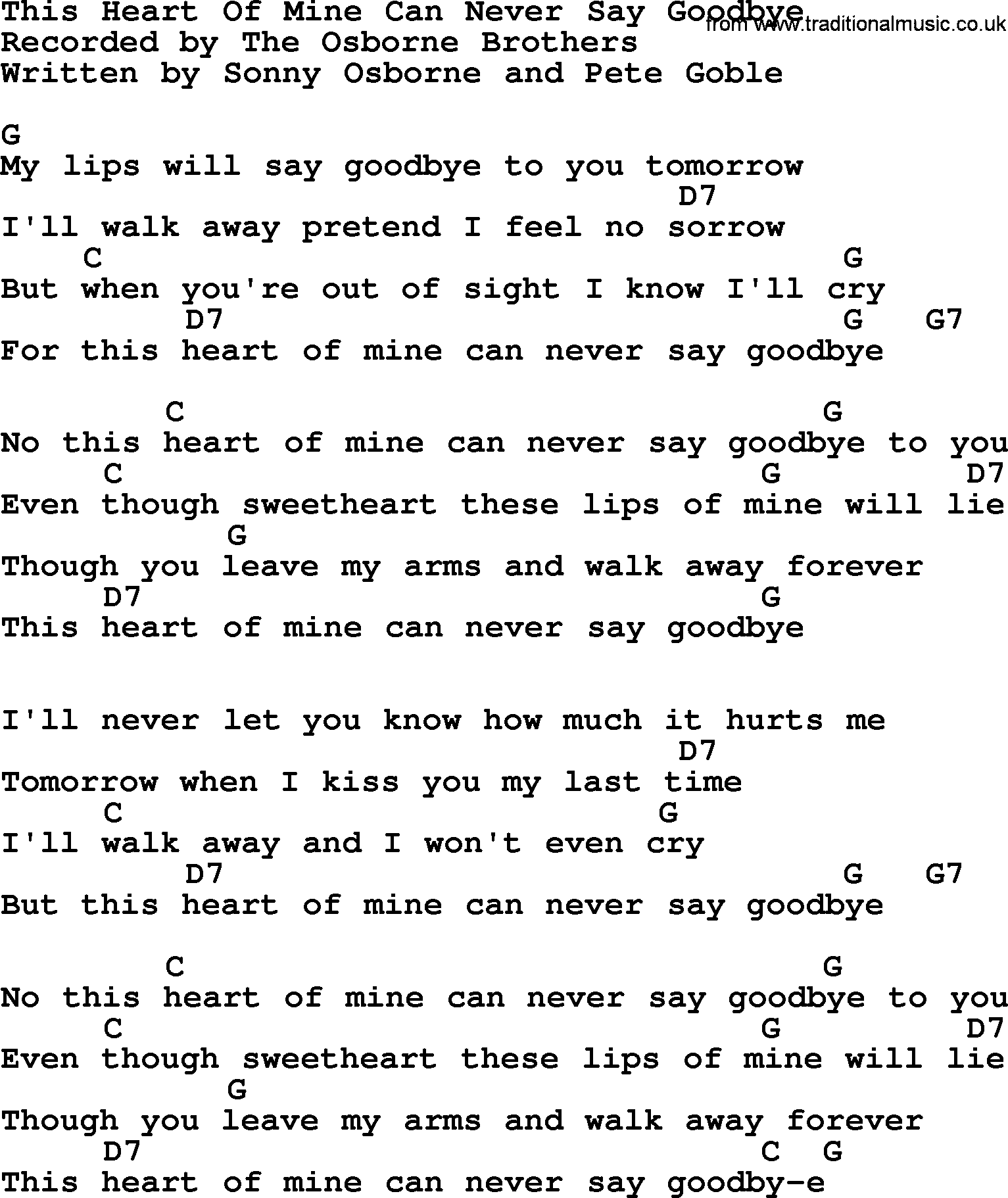 This Heart Of Mine Can Never Say Goodbye Bluegrass Lyrics With Chords
