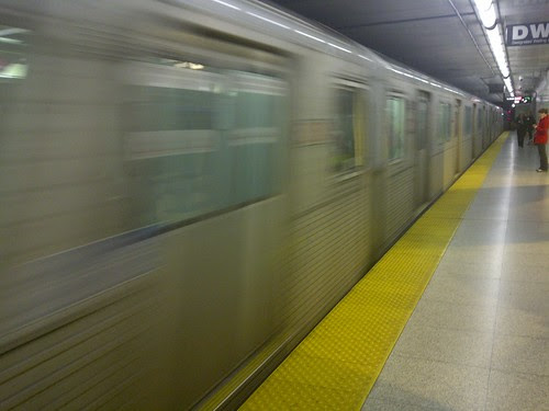 Subway Train Entering Station TTC Toronto