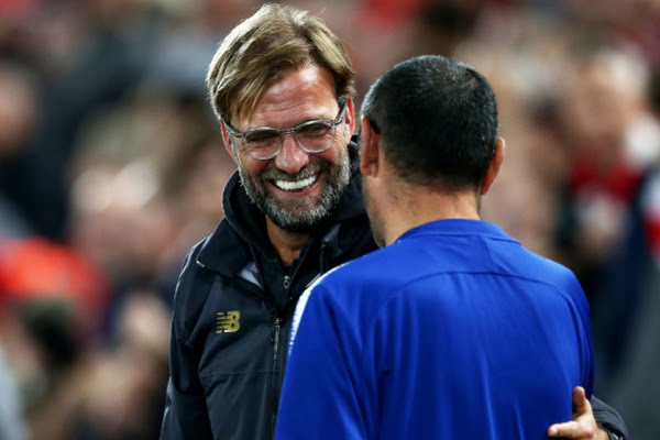 8cb1d0c3a62 Klopp reveals what Sarri said to him after Chelsea draw. Liverpool s clash  with Manchester City ...