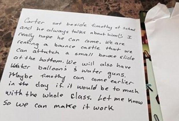 O bilhete escrito por Ainsley Peikos emocionou a mãe de Timothy (Foto: Reprodução)
