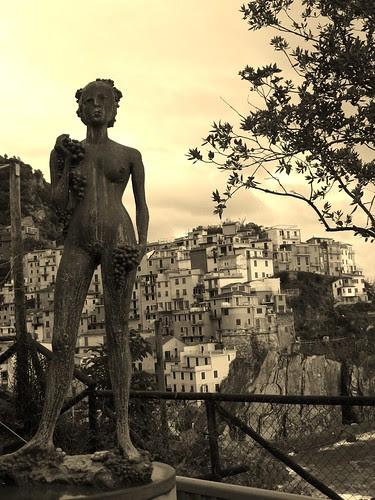 Italian statue and coast by antiquerain