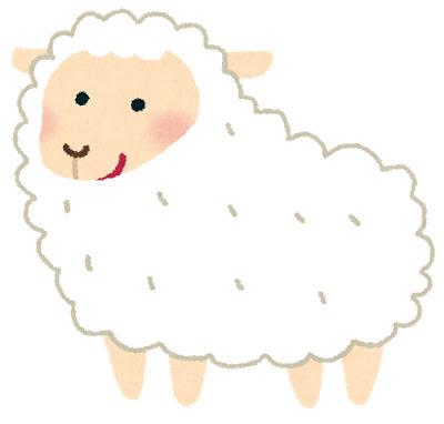 フリー素材 白い毛の羊を描いたイラスト手書き感のあるタッチと白と