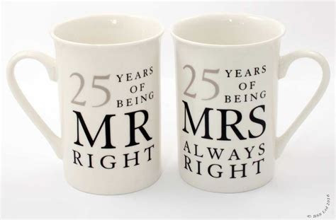 25th Anniversary Gift Set ~ Pair of China Mugs Mr Right