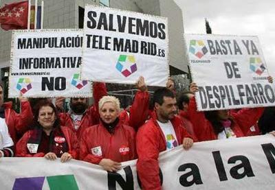 Foto de archivo de una protesta de los trabajadores de Telemadrid. EFE