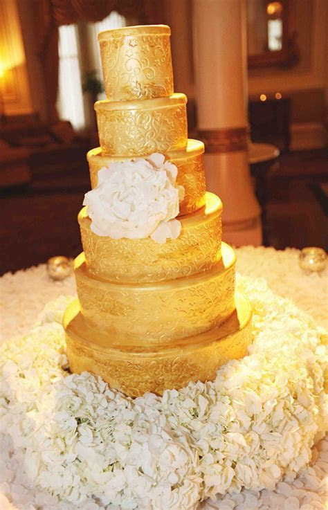 Bolos de casamento dourados   Bolo de casamento