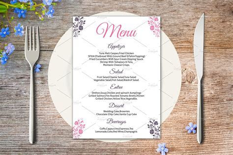 Wedding Menu Card Template ~ Stationery Templates