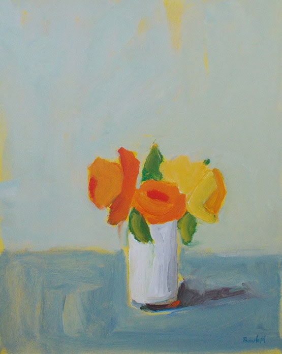 Original acrylic painting floral flowers orange and yellow art home decor