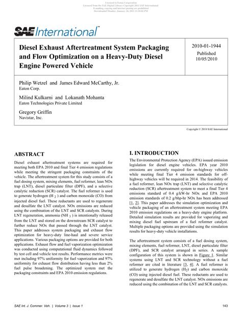 (PDF) Diesel Exhaust Aftertreatment System Packaging and