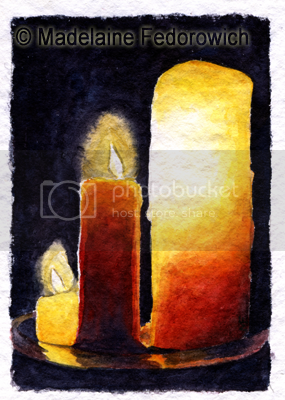 Three Pillars Candle ACEO