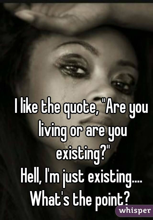 I Like The Quote Are You Living Or Are You Existing Hell Im