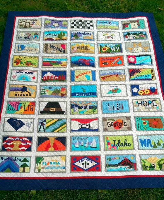 American Made Brand License plate quilt