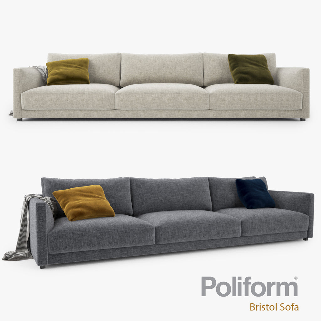 Poliform Bristol Three Seater Sofa 3D Model FaceQuad