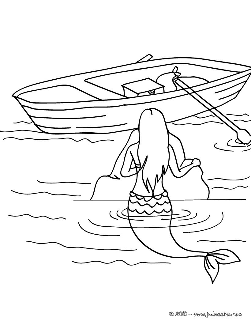 jolie sir¨ne  la barque  colorier