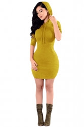 Plain Bodycon Dresses Hooded Drawstring second hand for