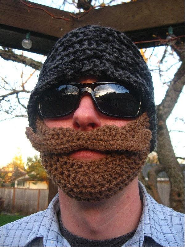 Grey and Black Mustache Bearded Beanie