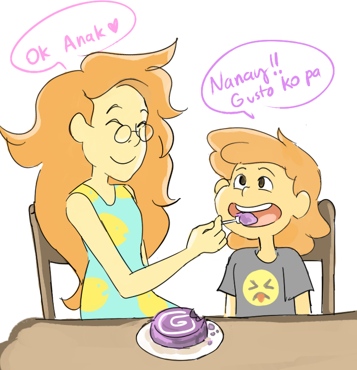 """MOM I WANT SOME MORE"" ""ok son"" im still freaking out that lars baked ube cake :3 my headcanon that lars knows how to speak tagalog"