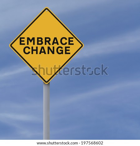 A conceptual road sign on Change  - stock photo