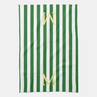 Green and White Striped Monogram Kitchen Bar Towel