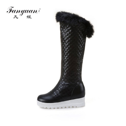 Winter Women Over The Knee Boots Warm Fringe Buckle Platform Height Plush Long Increasing Shoes