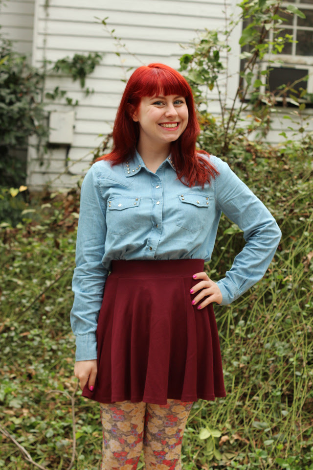 Denim Shirt, Maroon Skater Skirt