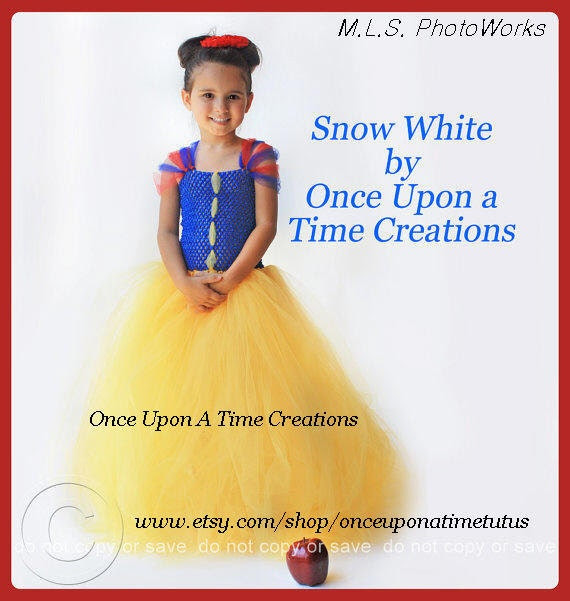 Infant Size - Snow White Inspired Princess Tutu Dress - Birthday Outfit, Halloween Costume - Newborn Baby 3 6 9 12 Months - Disney Inspired