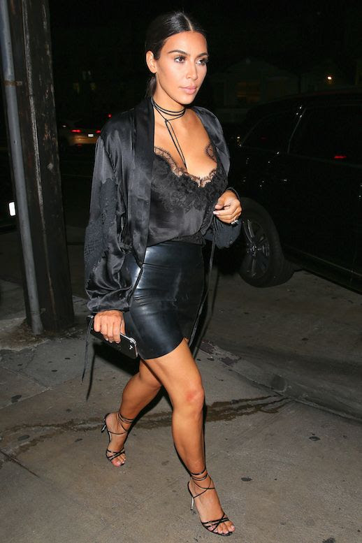 Le Fashion Blog Kim Kardashian Black Robe Black Lace Cami Pencil Skirt How To Dress Like Kim Kardashian Via The Sun