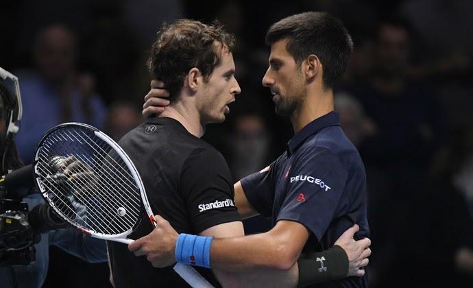 Andy Murray e Novak Djokovic no ATP Finals (Foto: Reuters)