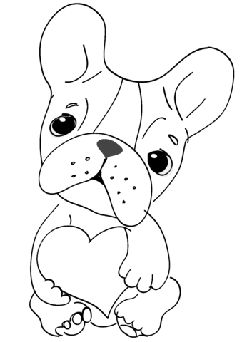 cute dog with heart coloring page  free printable coloring pages