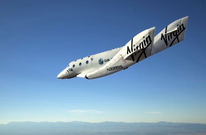 The VSS Enterprise conducts its first manned glide flight above the Mojave Desert in Southern California, on October 10, 2010.