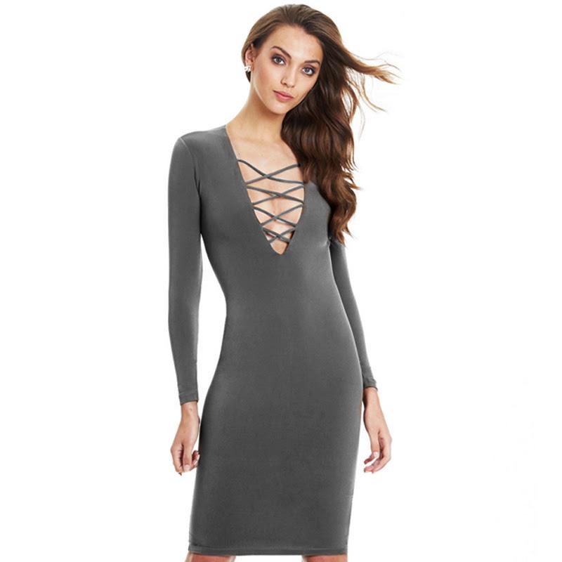 Yukon long sleeve v neck bodycon dress