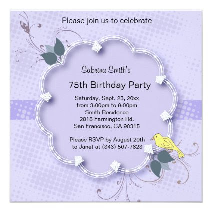 75th Birthday Party | DIY Text 5.25x5.25 Square Paper Invitation Card