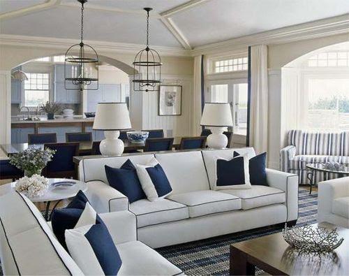 Living room blue & white.
