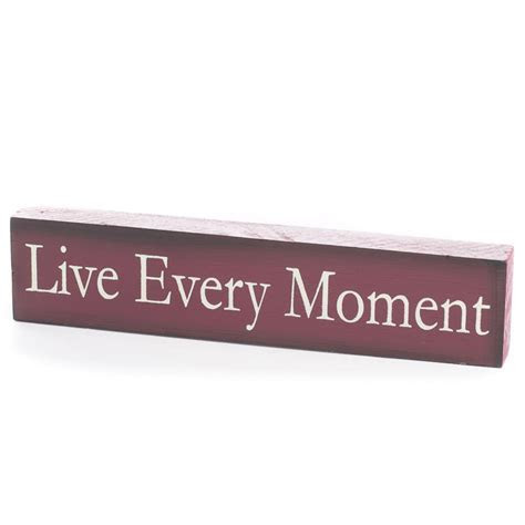 """""""Live Every Moment"""" Chunky Wood Block Sign   Home Decor"""
