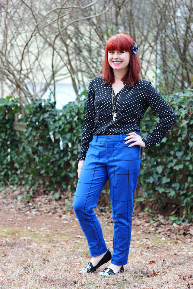 Polka Dot Blouse, Cobalt Blue Patterned Trousers, Boston Terrier Flats, Galaxy Print Hair Bow