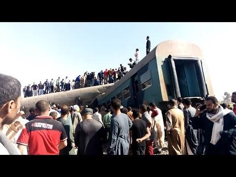 حادث قطار سوهاج اليوم تصادم قطار 2011 وقطار 157 مشاهد تعرض لاول مره
