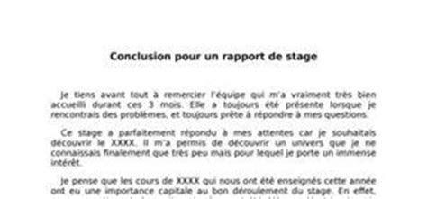 exemples de conclusions de rapport de stage